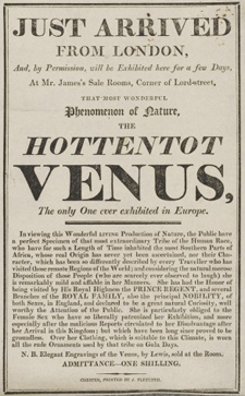 Poster advertising exhibition of the 'Hottentot Venus'