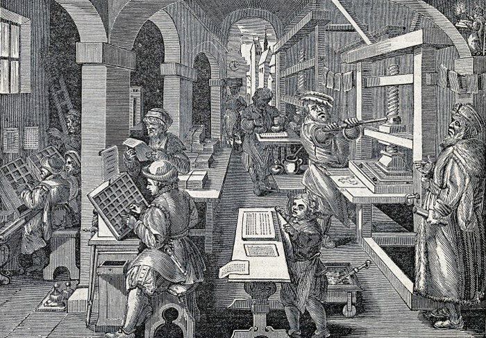 V0023786 Men working at a printing press, proofing copy, inking, and Credit: Wellcome Library, London. Wellcome Images images@wellcome.ac.uk http://wellcomeimages.org Men working at a printing press, proofing copy, inking, and setting type. Wood engraving after a woodcut by Stradanus, c.1580. By: Jan van der StraetPublished: - Copyrighted work available under Creative Commons Attribution only licence CC BY 4.0 http://creativecommons.org/licenses/by/4.0/