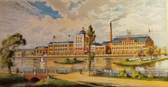 Laboratories and Works of Burroughs Wellcome & Co. Dartford showing cleaned lake and artificial island ca. 1896