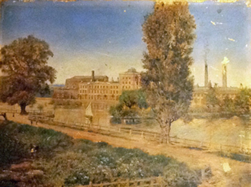 Phoenix Mills, Dartford, watercolour by C.T. Youens