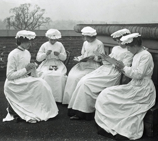 Packing girls from the Burroughs Wellcome Dartford site taking a break from work.