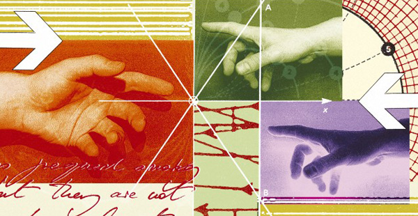 Illustration of hands reaching out Credit: Matthew Herring. Wellcome Images images@wellcome.ac.uk http://wellcomeimages.org Illustration depicting a hand reaching out towards others pointing in the opposite direction. Digital artwork/Computer graphic 2002 Published:  -  Copyrighted work available under Creative Commons by-nc-nd 4.0, see http://wellcomeimages.org/indexplus/page/Prices.html Wellcome Images reference B0003932