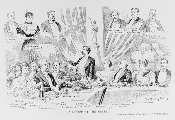 A Group at the Feast of the Thanksgiving Day Banquet of the American Society of London Supplement To the Souvenir of the Thanksgiving Day Banquet of the American Society In London Wellcome Images reference no. L0033982.