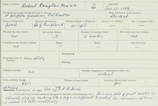 Medical records Priory Roehampton 1906