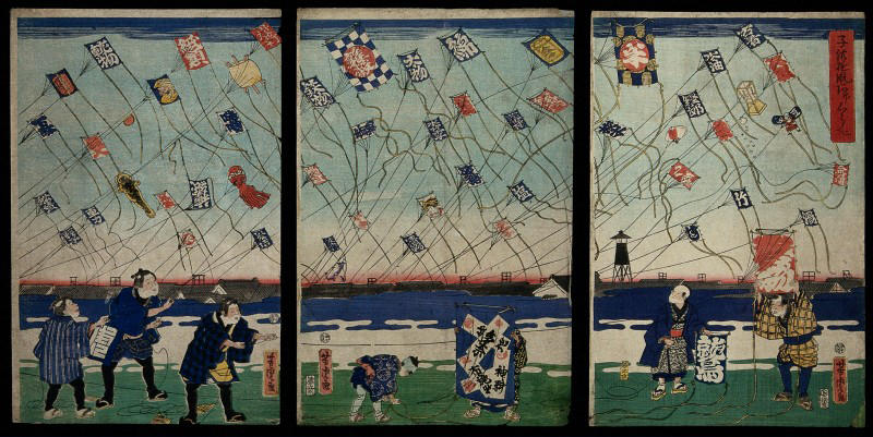 Japanese print of kite flying
