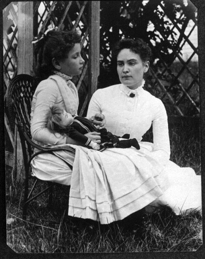 Helen Keller with Anne Sullivan, Cape Cod, July 1888