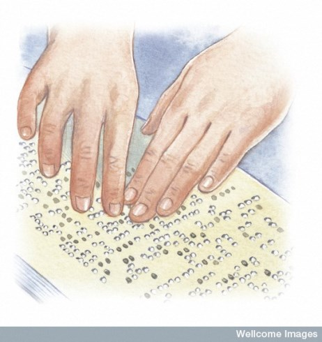 Diagram showing human hands on braille