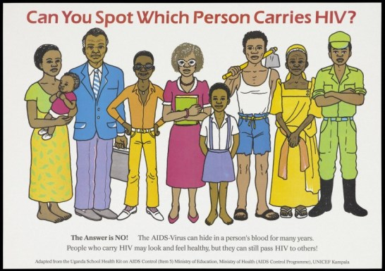The difficulty in spotting who carries the HIV virus. Wellcome Images, L0055030.