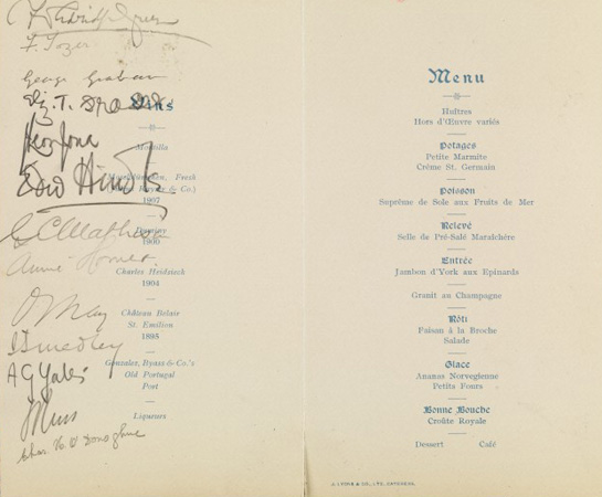 Menu from a Beit Memorial Fellowship Dinner with signatures of attendees, including that of Ida Smedley. Wellcome Library Reference: SA/BMF/G.1.