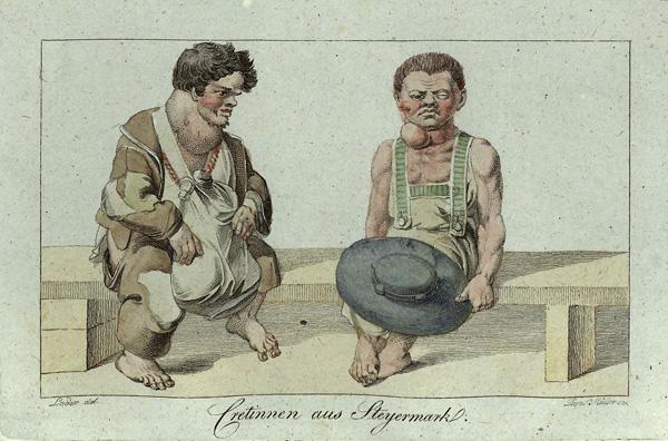 """Cretinnen aus Steiermark"""" 1819 gez. Loder, gest. Leopold Müller by Franz Sartori, (Publisher), Scan and post-processing by Hubertl - Oesterreichs Tibur. Licensed under Public domain via Wikimedia Commons."""