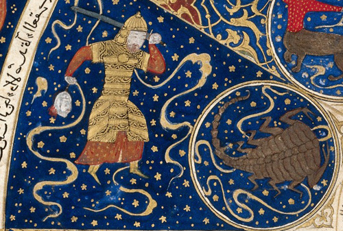 "L0040150 Horoscope from 'The book of birth of Iskandar"" Credit: Wellcome Library, London. Wellcome Images images@wellcome.ac.uk http://wellcomeimages.org Detail showing a planet in the house of Scorpio, from the Horoscope from 'The book of birth of Iskandar"" c.1411 The book of the birth of Iskandar, {European foliation, L to R}. Published: - Copyrighted work available under Creative Commons Attribution only licence CC BY 4.0 http://creativecommons.org/licenses/by/4.0/"