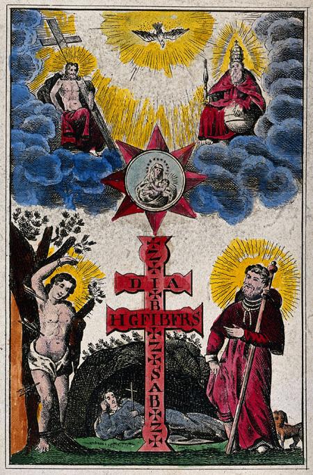 Printed plague cross.