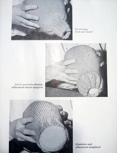 photograph of a knitted uterus