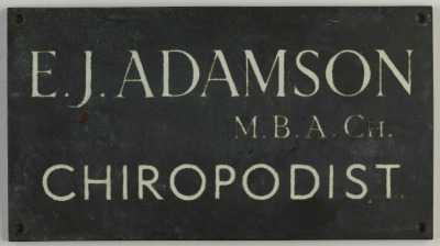 Chriopodist's plaque for Edward Adamson