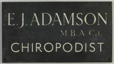 Chriopodist's plaque for Edward Adamson