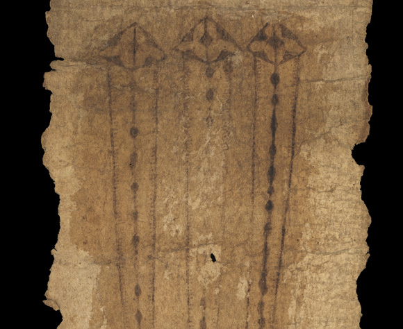 Images of nails on medieval roll.