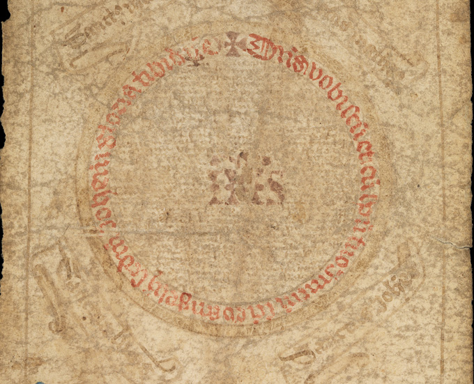Circle on medieval roll.