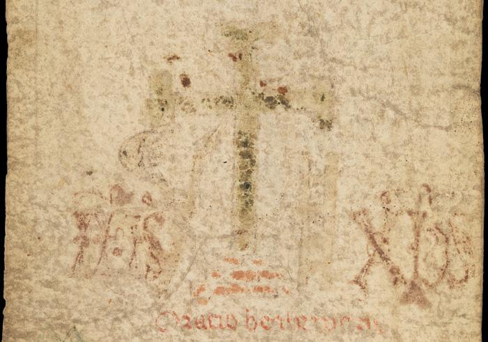 Cross on medieval roll.