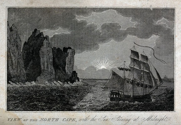 Astronomy: a sailing ship at the North Cape, Norway, sailing Wellcome Images No. V0025067