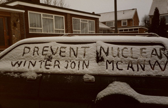 "L0075332 Protest writing in snow 'Prevent Nuclear Winter Join MCANW' Credit: Wellcome Library, London. Wellcome Images images@wellcome.ac.uk http://wellcomeimages.org Protest writing in snow on side of car 'Prevent Nuclear Winter Join MCANW"". Medact was formed in 1992 as a merger between the Medical Campaign Against Nuclear Weapons (MCANW) and the Medical Association for the Prevention of War (MAPW). Photograph 1980s Medact  Published:  -  Copyrighted work available under Creative Commons Attribution only licence CC BY 4.0 http://creativecommons.org/licenses/by/4.0/"
