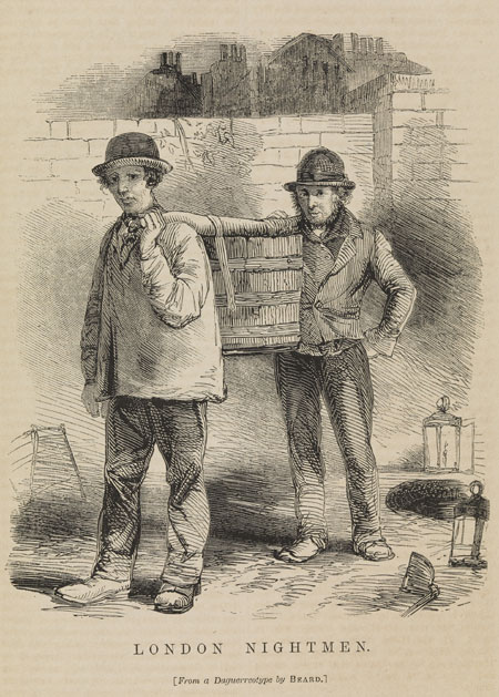 Two working men carry between them a large bucket on a pole, full of sewage