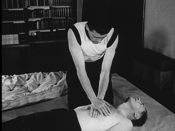 External, closed-chest, cardiac massage, 1963 film still