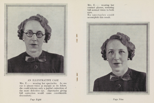 Photographs of a woman with glasses and contact lenses