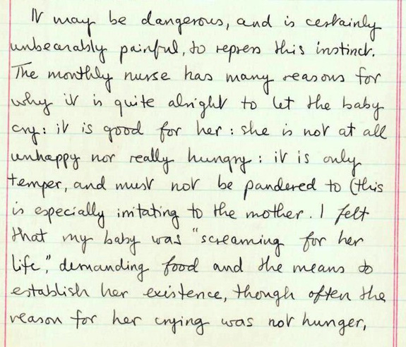 """An extract from Ursula's journal, """"recording her first impressions as a mother"""". Wellcome Library reference: PP/BOW/P/3."""