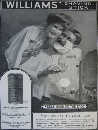 """""""Feels good on the Face"""" advertisement for Williams' Shaving Stick"""