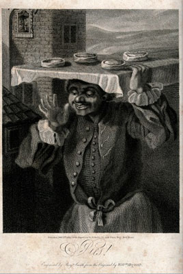 A baker is carrying a tray of pies on his head. Wellcome Images No.V0039654 .