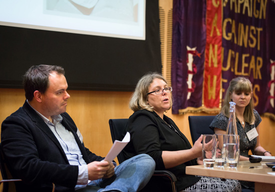 Left to right: Dr Christoph Laucht, Emily Gustainis, Elena Carter. Beds not Bombs, 27 June 2014. Image credit: Thomas Farnetti.