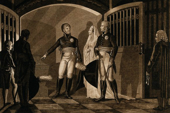 Print of the Tsar's visit to the tomb of Frederick the Great