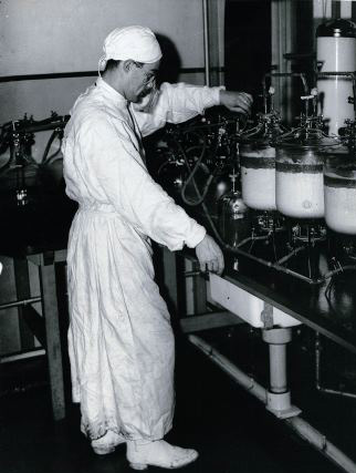 photograph of blood component processing in the 1940s