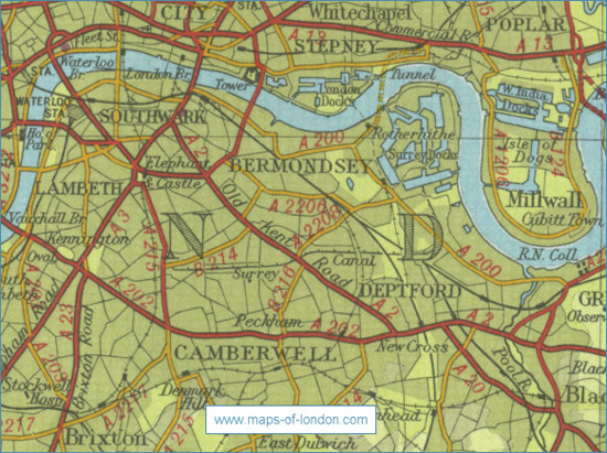 Map of London, with the Houses of Parliament on the extreme left, and Rotherhithe down river on the extreme right
