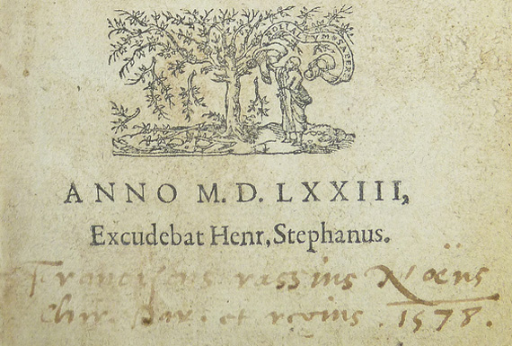 Ownership inscription in 1573 book