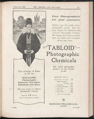 Advert for Tabloid Photographic Chemicals from the Chemist and Druggist, Jan-Mar 1928.