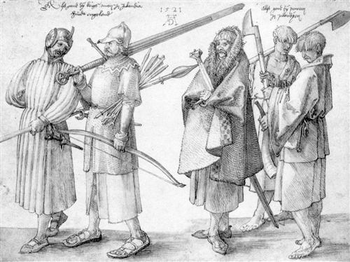 Irish soldiers drawing by Albrecht Durer