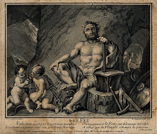 Vulcan or Hephaestus. Engraving by E. Jeaurat, 1716, after N. Vleughels. Wellcome Images V0035829