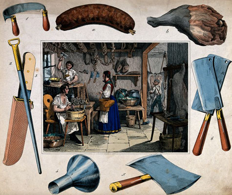 Two men are working with knives and cleavers as another make makes sausages. Wellcome Images  No. V0039812