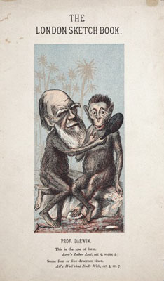 Charles Robert Darwin, as an ape, holds a mirror up to another. Wellcome Images No.L0003760.