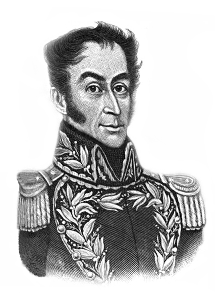 Portrait of Simón Bolívar, showing head and shoulders in ornate military uniform.
