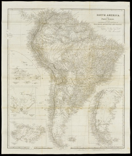 Map of South America, dated 1839