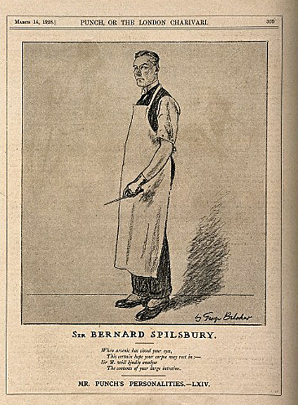 Sir Bernard Spilsbury, a famous pathologist. Reproduction of a drawing after G. Belcher, 1928. 1928 By: George Belcher Wellcome Images V0011537