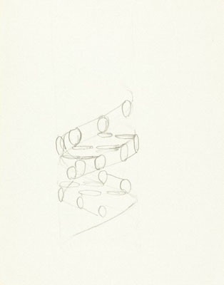Pencil sketch of the DNA double helix by Francis Crick. Wellcome Images No. L0033046.