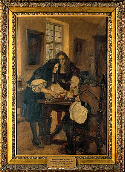 Christopher Wren making his first demonstration of a method of introducing drugs into a vein, before Dr Willis, 1667. Oil painting by Ernest Board. Wellcome Images V0018136