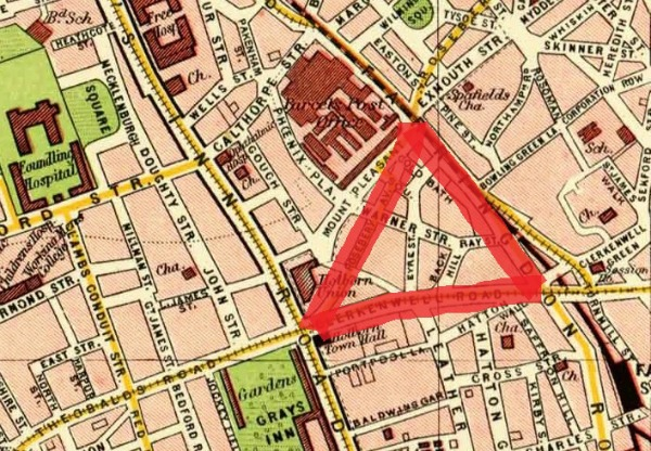 Street map of Finsbury, London , UK 1900.