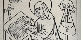 Woodcut of St Birgitta.