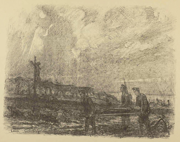 Print of stretcher bearers at Loos