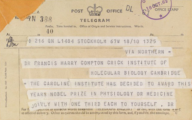 Part 1 of a two part telegram to F. Crick. Nobel Prize Wellcome Images No. L0032968