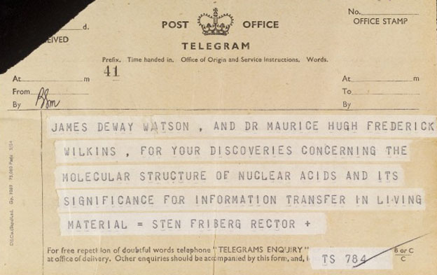 Part 2 of a two part telegram to F. Crick. Nobel Prize Wellcome Images No. L0032977